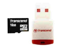 MicroSDHC 16Gb 10class Transcend + USB reader