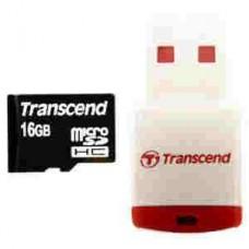 MicroSDHC 16Gb Transcend + USB reader